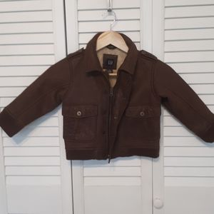 Toddler size 3 leather-look aviator jacket.